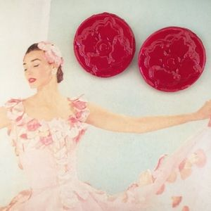 Red Medallion Disk Earrings Hand Molded Painted